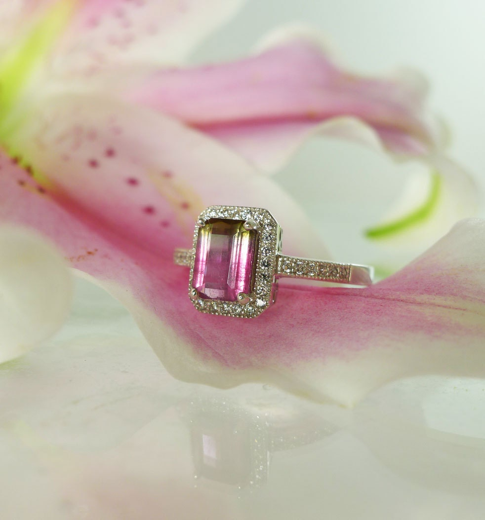 Watermelon Tourmaline Engagement Ring - 2018 images & pictures ...