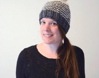 Striped Chunky Beanie // Hand Knitted Beanie With Pom Pom // Chunky Knit Beanie // Striped Beanie // Winter Hat // Pom Pom Beanie