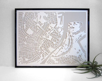 Hand Cut Paper Map of Copenhagen