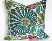 Decorative Pillow Accent Pillow 18x18 20x20 22x22 or 14x20 Lumbar Pillow Teal Blue Pillow Cover Richloom Bankura Moroccan
