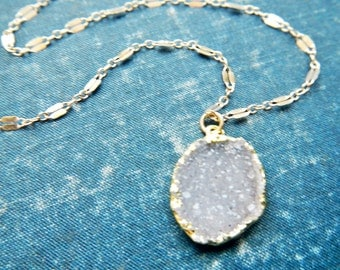 snow white druzy necklace - raw crystal necklace - agate druzy necklace