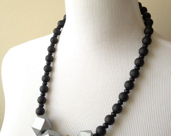 Silver, Gold and Black Wooden Geometric Bead Necklace - Wooden Beaded Metallic Asymmetric Necklace - Bianca Collection