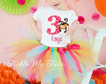 Monkey Love Birthday Number Tutu Outfit, Monkey Birthday Tutu Outfit, Monkey Birthday Tutu Set *Bow NOT Included*