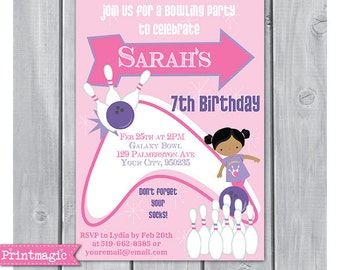 Girl Bowling Party Invitation - Bowling Birthday Party - Bowling Invitation - Instant Download - Personalize at home in Adobe Reader