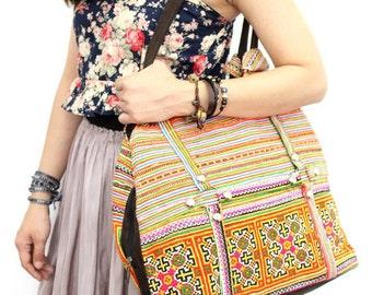 Shoulder Bag Vintage Fabric Embroidered HMONG Suede Strap Hill Tribe Thailand  (BG504)