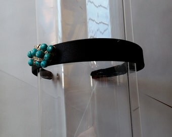 Turquoise Blue Beaded Silver Metal Crystal Black Satin Headband, for weddings, parties, evening, special occasions