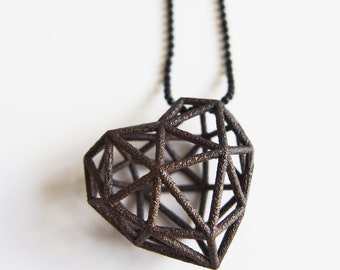 3D Printed Heart Necklace - Black Stainless Steel