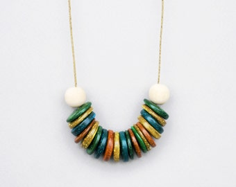 Colorful Coconut Necklace, Multi Color Necklace, Statement Necklace, Chunky, Wood Necklace