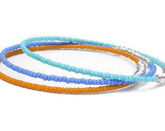Bangle Bracelets // Set of 3 Beaded Bangle Bracelets // Turquoise, Purple & Orange Seed Beads, Silver Wire Wrap // Recycled Beadwork Jewelry