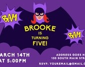 Personalized Batgirl Invitation