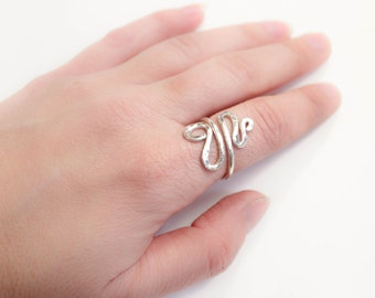 Adjustable Ring Sterling Silver , Hammered Wire  Ring , adjustable ring size