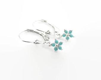 Kids Earrings , Girls earrings , Flower girl earrings , Sterling Silver Children's earrings , Leverback , Girl's Gift , children's jewelry