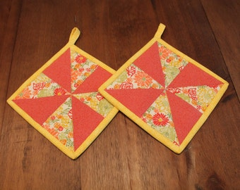 Quilted Pot holder Set- Hot Pad - Peach, Rose, Yellow, Green, Orange and White, potholder, potholders, gift, trivet, insulated, hotpad