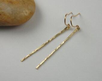 Rustic Gold Earrings Hammered Earrings Gold Stick Earrings Handmade Modern Gold Earrings