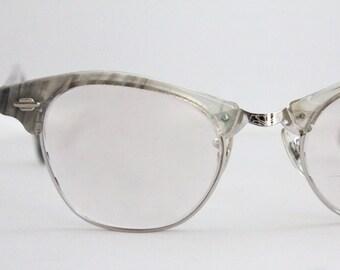 Vintage 50's Gray Marbled Horn Cat Eye Eyeglasses