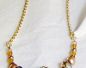 Golden Crystal Bling Necklace Gold Tone Fawn Luster Sparkling Czech Glass Beads OOAK 18 Inches Long