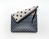 Black Polka Dot Canvas Clutch - Leather Fold Over Pouch, Zipper Canvas Handbag, Handmade Ipad Case Women's Accessories