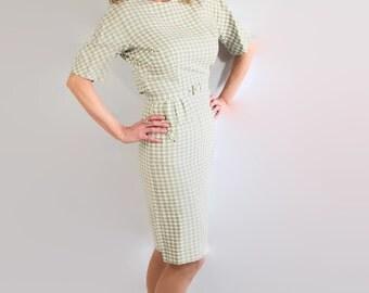 50s Marjorie Montgomery Wiggle Dress, Plaid Check, Mad Men