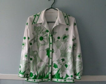 Women's Spring floral print polka dot polyester blouse / Kelly green and white button up shirt, butterfly collar