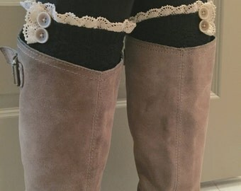Boot Socks : Black Wool Thigh High Boot Socks with Crochet Lace