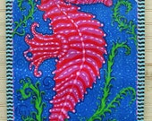 "Sassy red seahorse 16""x 32"" Giclee on canvas print by Florida artist Kim McCoy. Key West style"