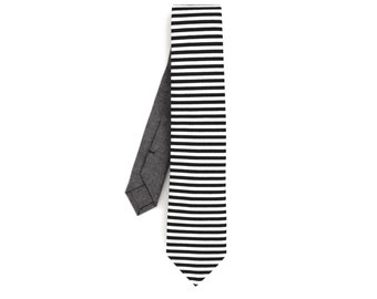 Black and White Striped Cotton Necktie