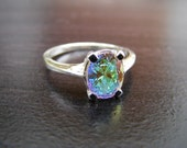 15% Off Sale.S105 Made to Order...New Sterling Silver Contemporary Designed  Ring With Mercury Mist Gemstone