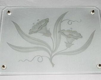 Dresser Tray, Vintage Etched Glass, SALE