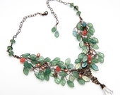 Light Slate Green and Peach Statement Necklace, Beaded Bib Necklace, Orange Green Vintage Style Bridal Necklace, Elvin Nature Jewelry