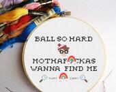 PATTERN: Ball So Hard Kanye Cross Stitch Pattern - Waldo Rap Gangsta Cross Stitch Pattern