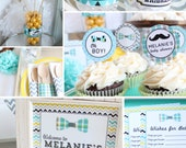 Mustache Baby Shower Decorations Package Boy Gray Yellow Blue printable
