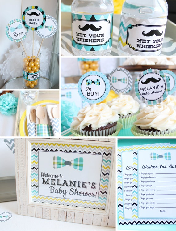 Mustache baby shower decorations boy baby shower mustache for Baby shower decoration packages