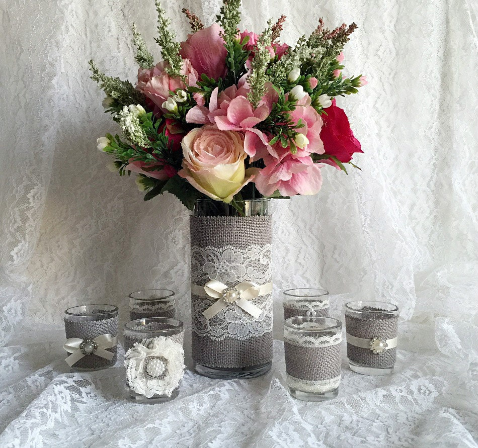 Rustic light grey and ivory burlap and lace covered votive tea for Bridal decorations