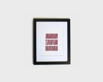 geometric picture // office wall decor // red wall hanging // hand stamped wall decor // original wall art // wood block print // wall print