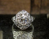 HOLD FOR MICHELLE--Payment #1 Art Deco Engagement Ring, Old European Diamond .50ct Floral Filigree Ring 18k c. 1920, Vintage Engagement Ring