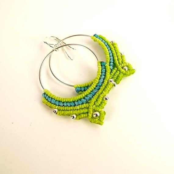 macrame hoops macrame hoop earrings hoop earrings in apple green and aqua 1846
