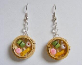 Food Jewelry Dim Sum in Bamboo Steamer Miniature Food Earrings-Miniature Food Jewellery,Mini Food Jewelry,Handmade Jewelry,Chinese Food