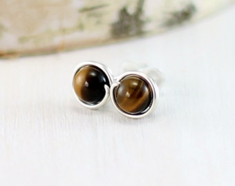 Tiger Eye Earrings, Sterling Silver Tigers Eye Stud Earrings Wire Wrapped Post Earrings Brown Gemstone Earrings
