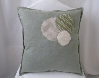 Green Decor Pillow Cover - Appliqué Pillow - Eco Friendly - Embellished Pillow - Green Home Decor - Green Throw Pillow -