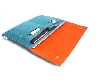 "New Macbook 12""/ Macbook Air 11 inch Case / Macbook Air 13 inch/ MacbookPro Case/ MacBookPro 13""/15""- Case Organiser -Teal Blue & Orange"