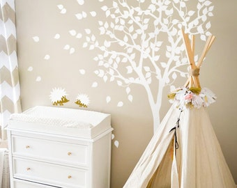 "White Tree Wall Decals - Nursery Wall Decal - Large Kids Room Wall Decor Wall mural sticker  - Large: approx 79"" x 85"" - KC004"
