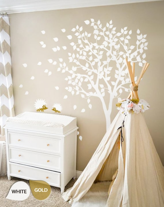 White Tree Wall Decal Nursery Wall Decal Large Kids Room