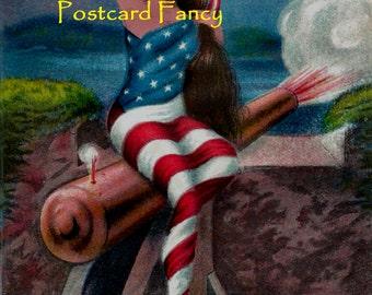 Digital Download, Vintage American Flag Lady at Noon, Patriotic Postcard