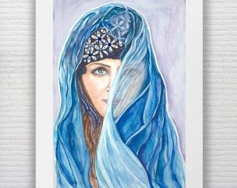 Watercolor Fashion Print Beautiful Middle Eastern Gypsy Fashion Art Rhinestone Embellished Veiled Beauty Fashion Illustration Female