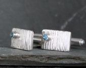 Summer Sky blue topaz set in sterling silver bark effect cuff links for Bridegroom, Men's jewellery Fiona Earlam custom handmade in UK