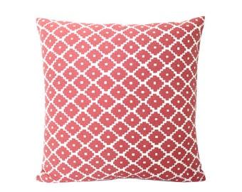 Ruby Red Ziggurat Schumacher Pillow Cover