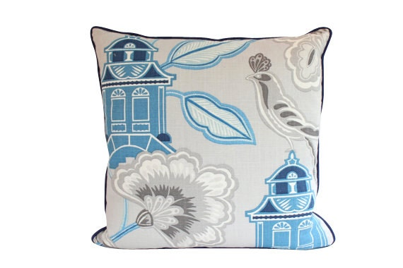 Designer Chinoiserie Pillow Cover with Piping, Blue and Grey Linen, Asian Design