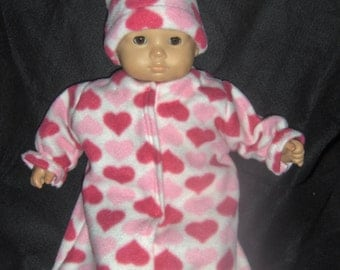 Valentine Hearts Bunting with Hat Doll Clothes Made to Fit Bitty Baby and Other 15 inch Dolls