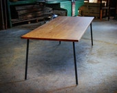 190x90cm DARK WOOD TABLE and Bench, Large Old Oak Dining Table,  On Original Adjustable Hardman Design & Build Steel Rod Legs