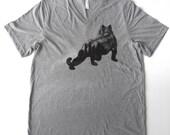 50% OFF - Urban Animal - Wild City Silhouette - Screenprinted in Black on a Heathered Medium Gray V-neck 100 Cotton Tshirt